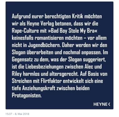 heyne fliegt reaktion zu bad boy stole my bra
